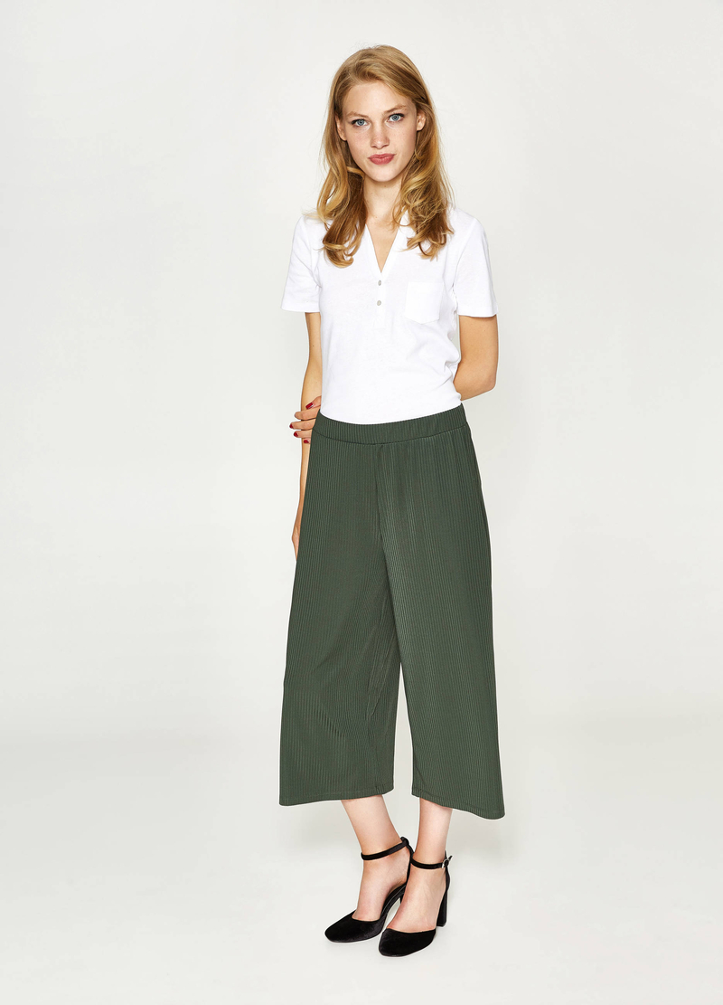 Gaucho model ribbed trousers image number null