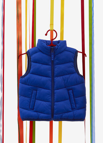 Padded gilet with high collar