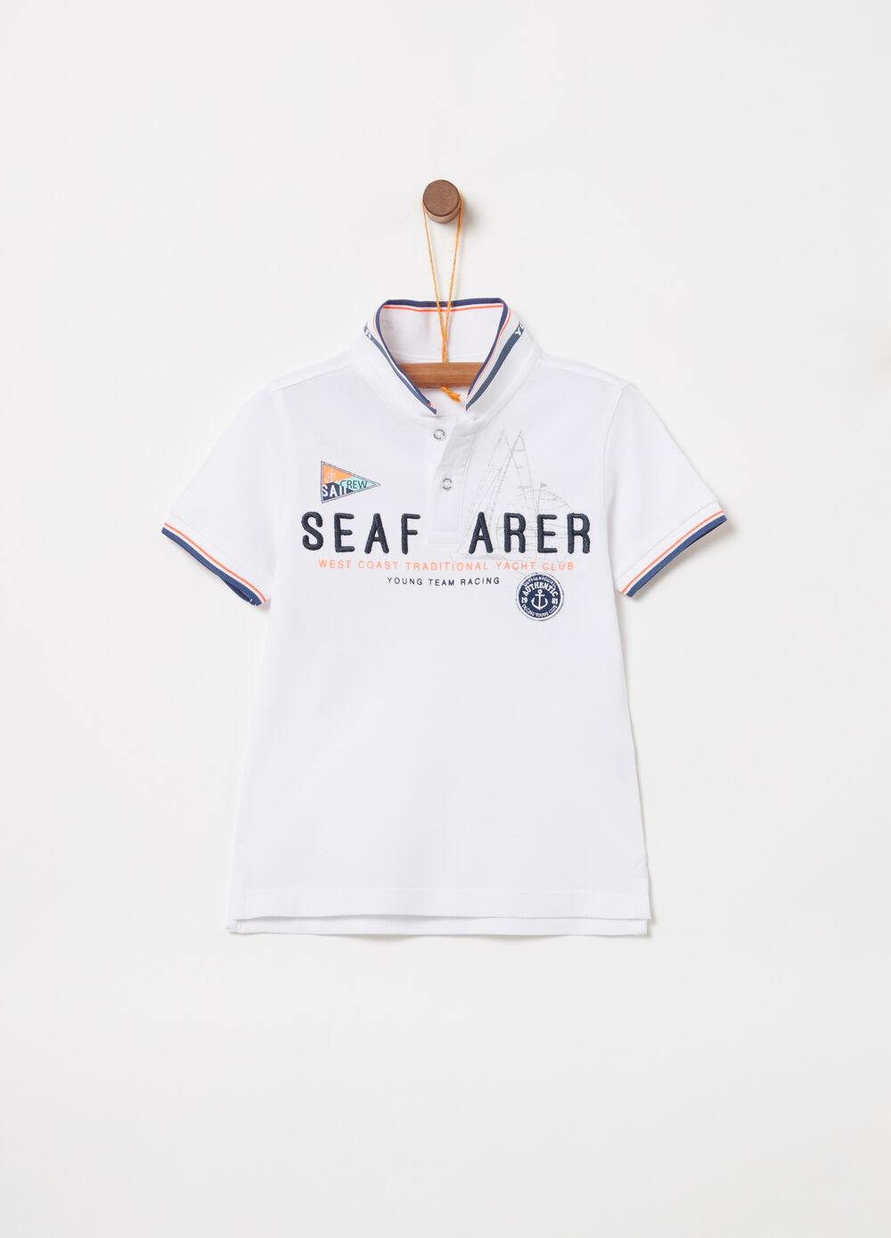 Cotton pique polo shirt with embroidery and print