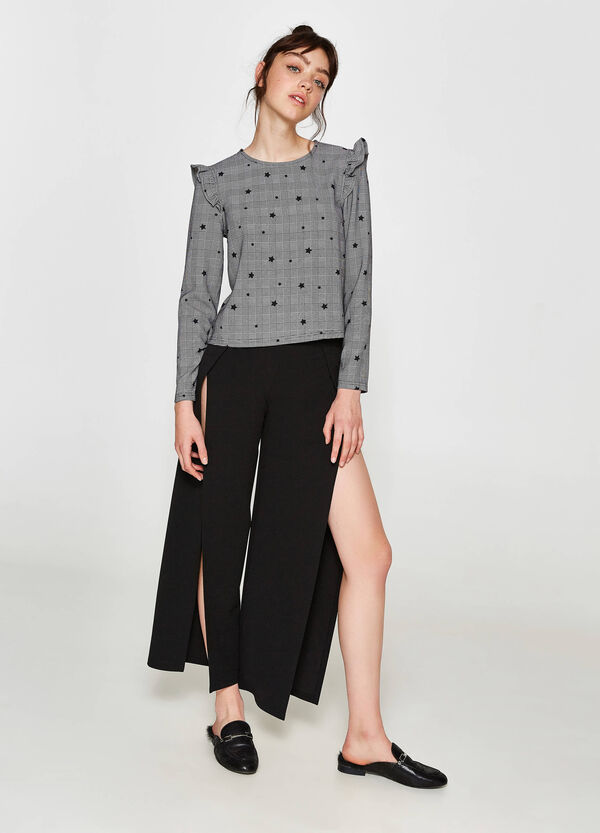 Blouse with check and star pattern