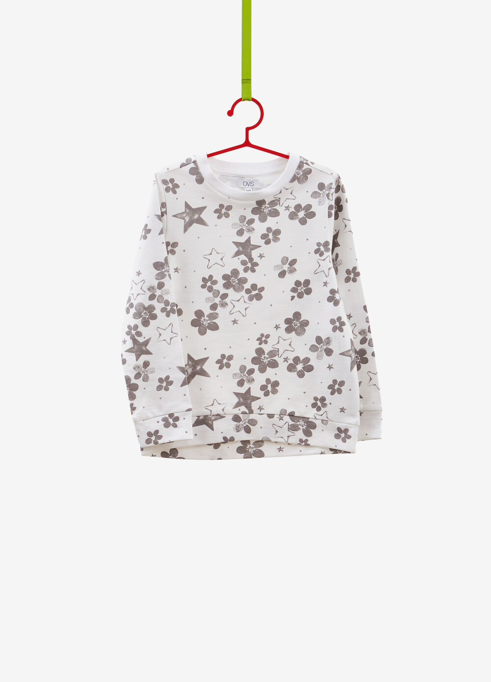 Floral sweatshirt in 100% cotton with stars