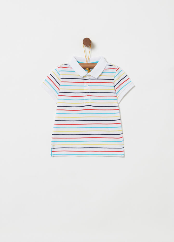 100% cotton polo shirt with striped ribbing