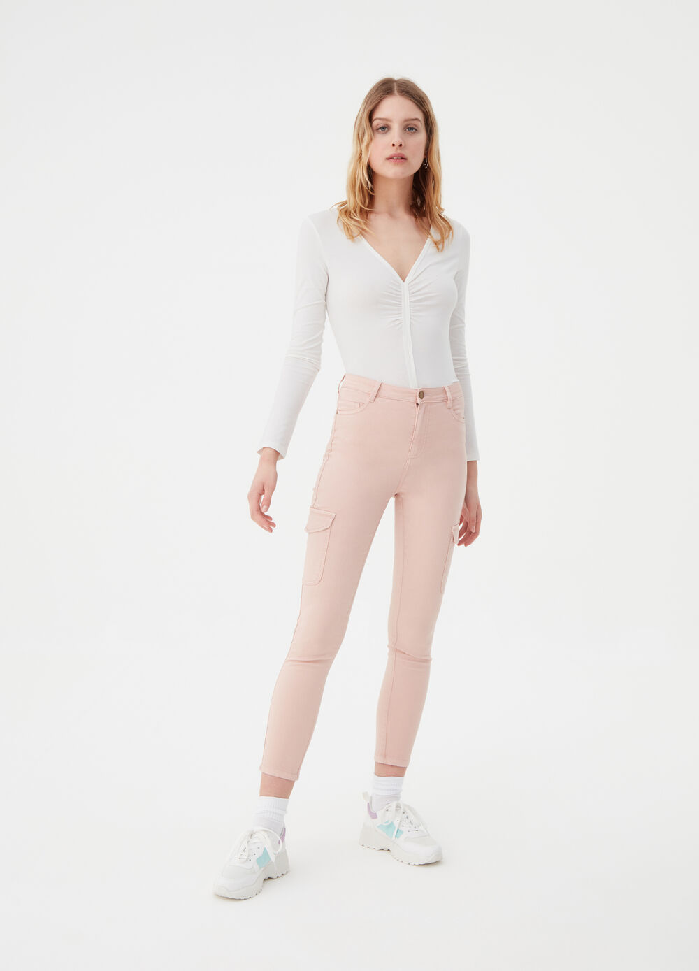 Skinny-fit stretch cargo trousers