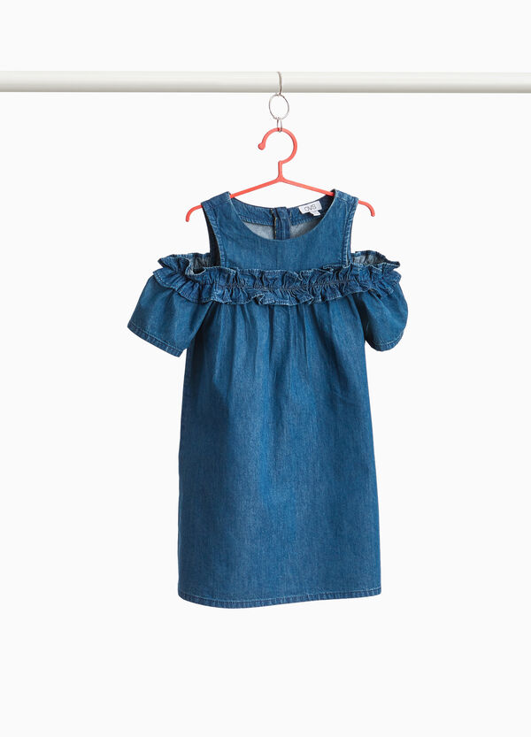Denim dress with flounces and openings