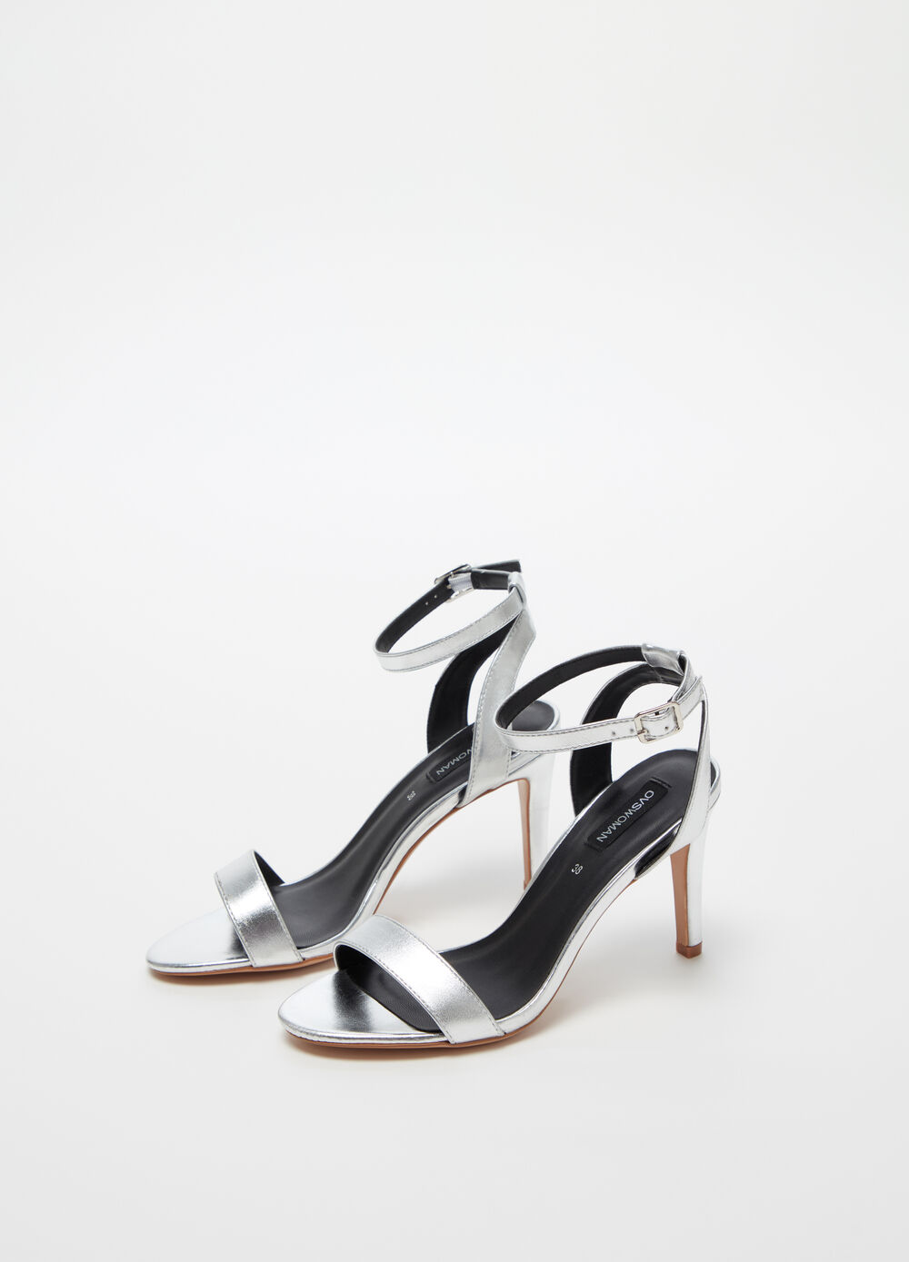 Sandals with high stiletto heels and strap
