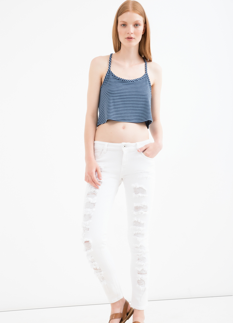 Ripped, skinny-fit stretch jeans image number null