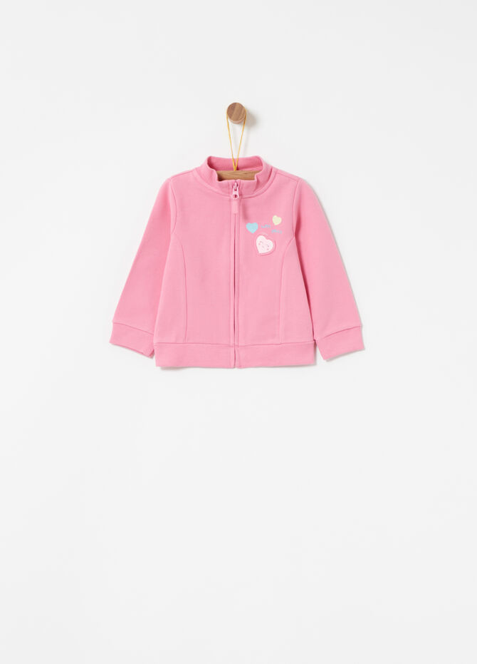 Cotton full-zip sweatshirt with raised print