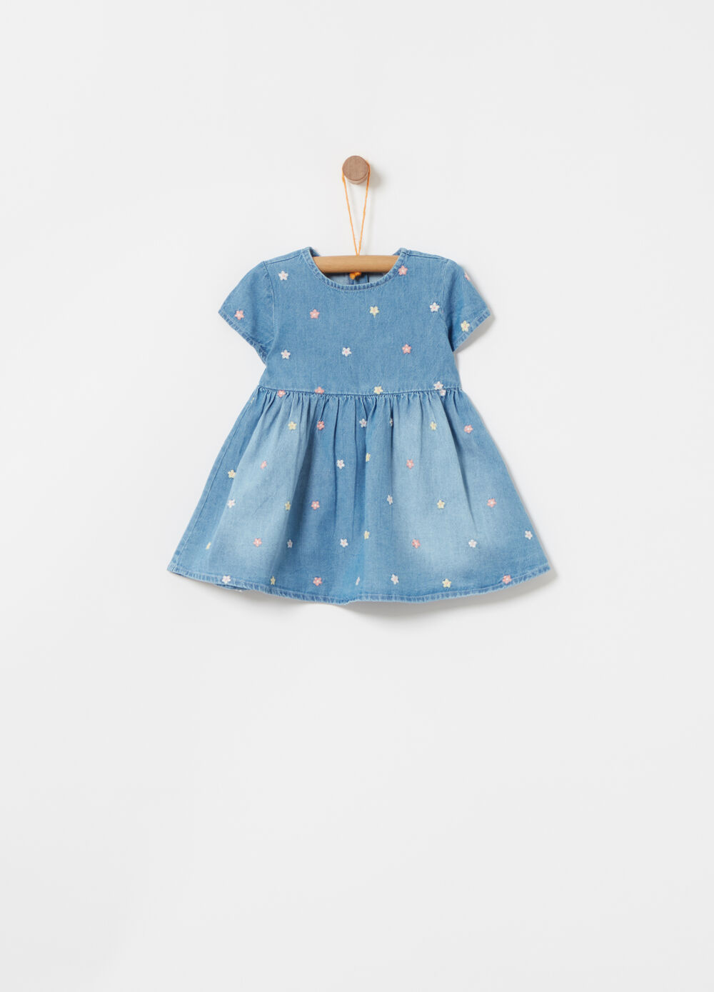Washed denim dress with embroidery