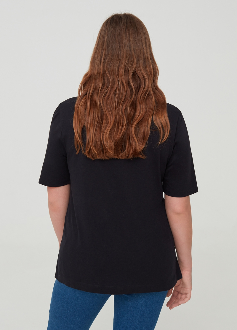 T-shirt puro cotone stampa lettering Curvy image number null