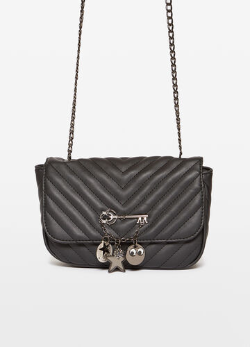 Quilted shoulder bag with charm