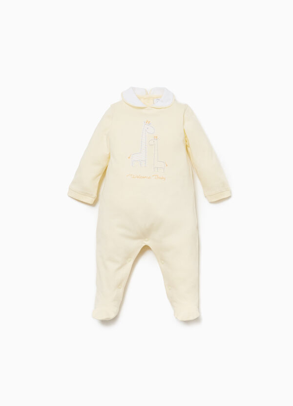 100% cotton onesie with giraffe patch