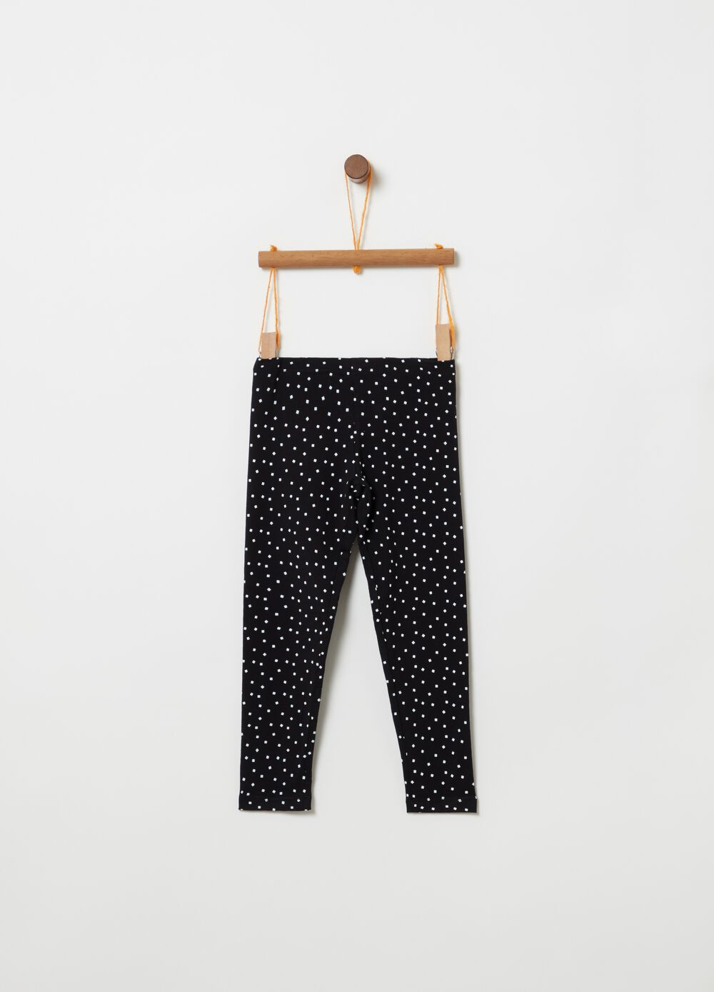 Stretch cotton micro check leggings