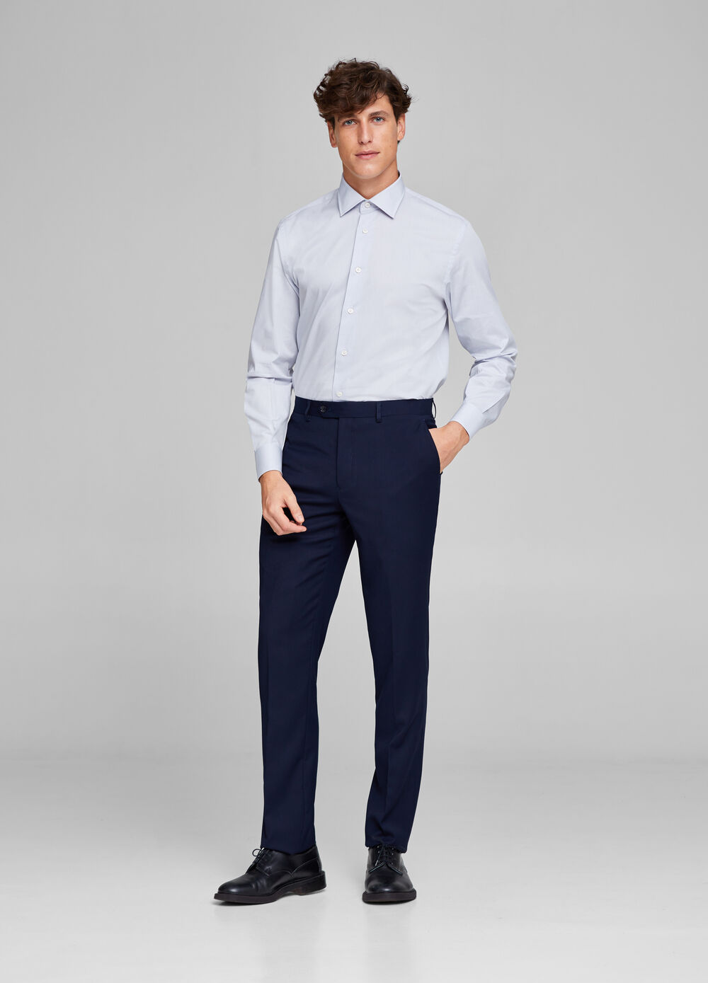 Regular-fit trousers with frayed hem