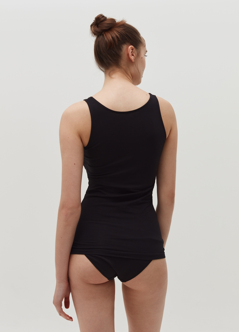 Stretch cotton vest with wide straps image number null