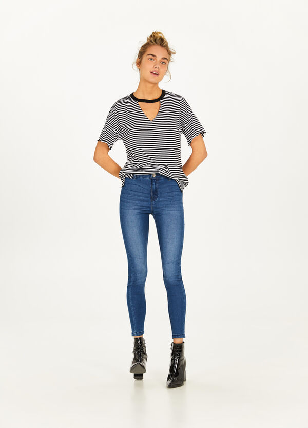 Jeans skinny fit crop con zip