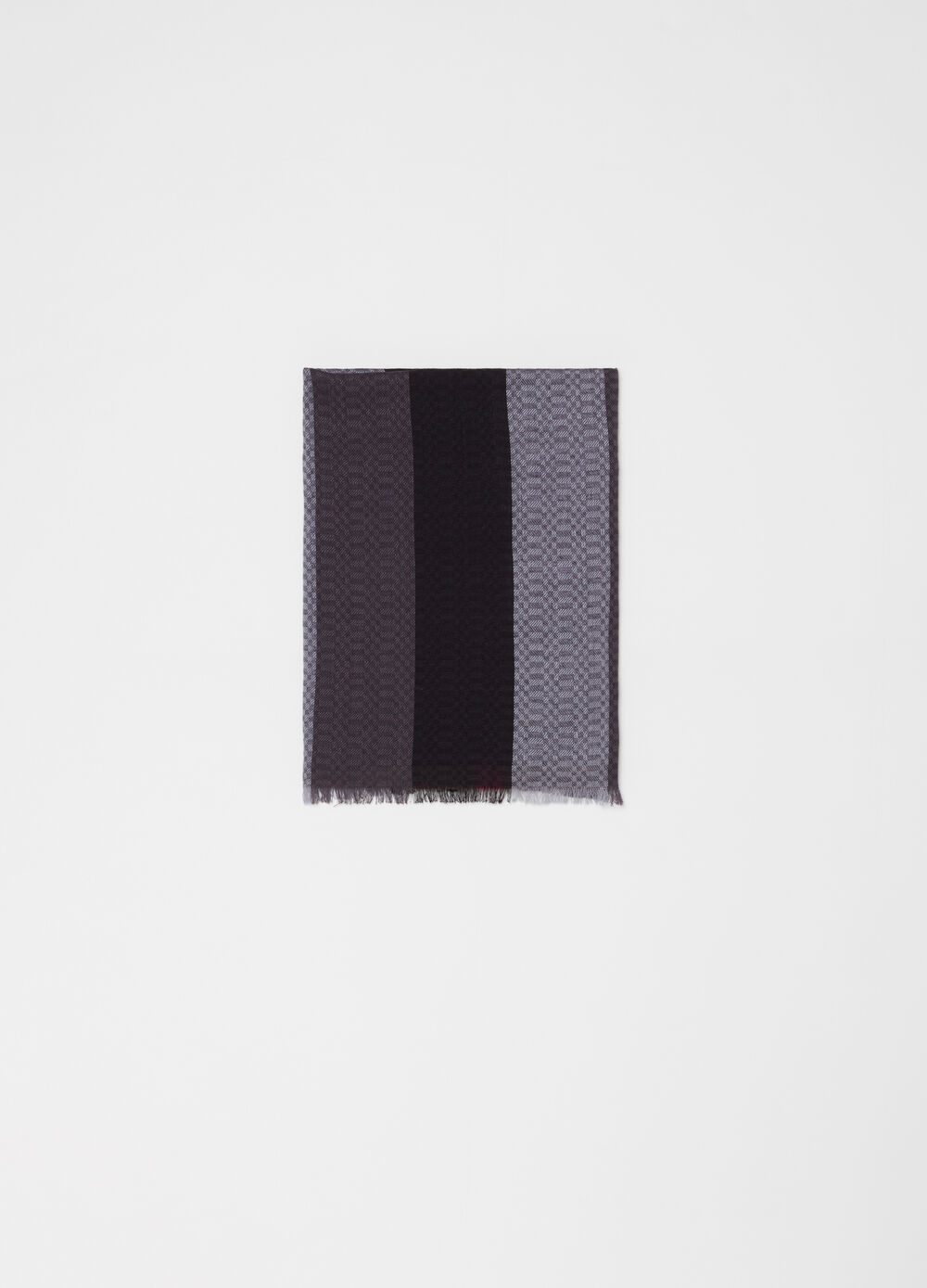 Colour block jacquard scarf with fringe