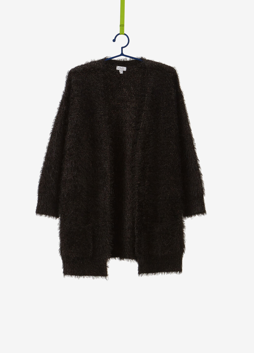Frayed-effect maxi cardigan with lurex