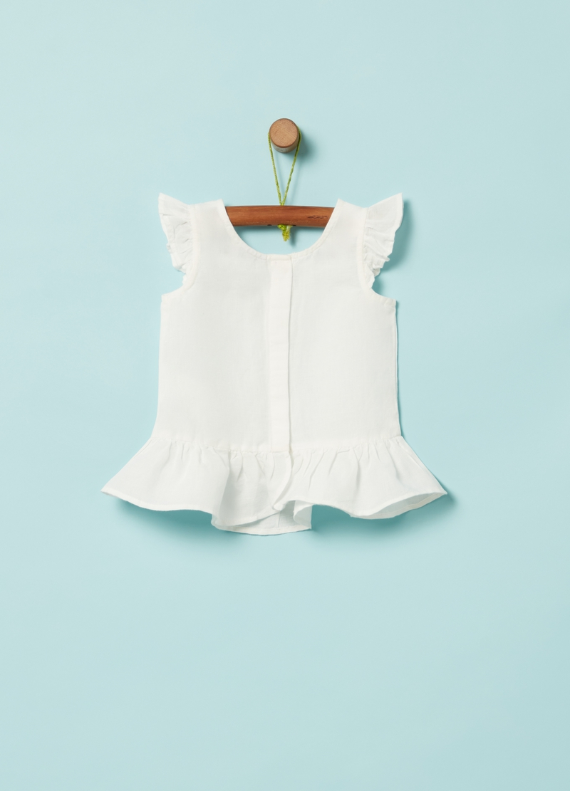 Cotton and linen shirt with bows image number null