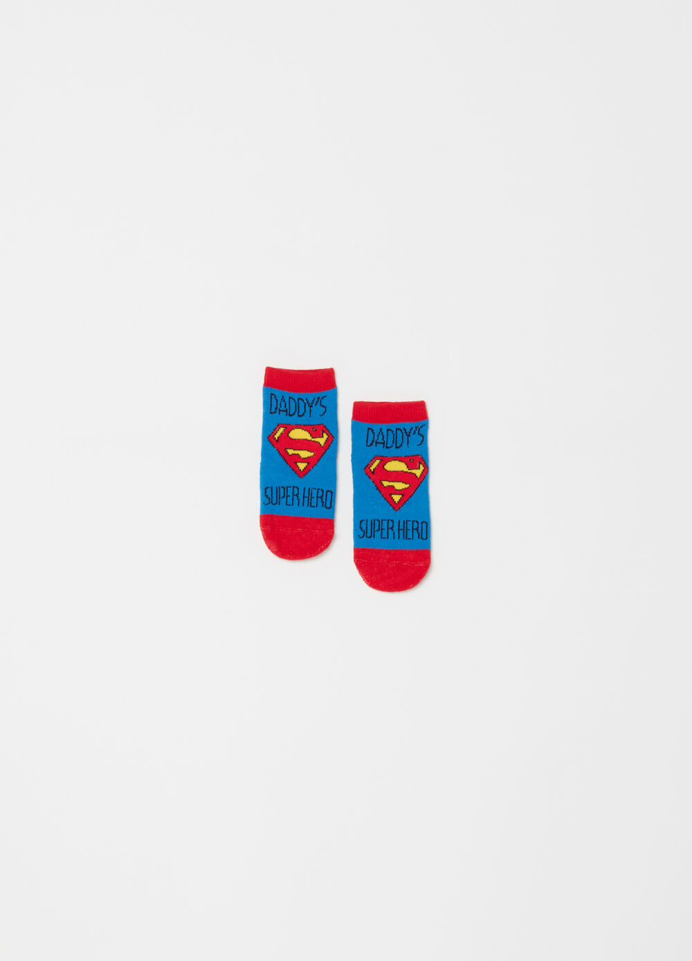Stretch short socks with Superman pattern
