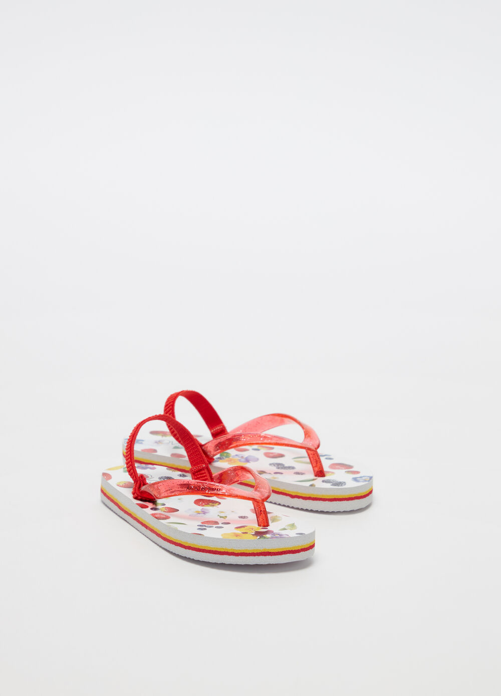 Thong sandals with glitter laces and pattern