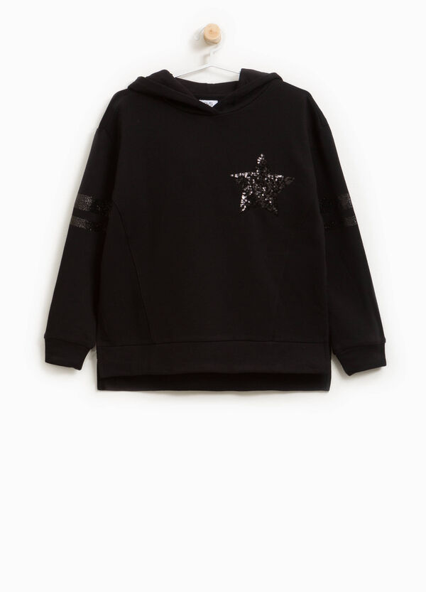 Sweatshirt in cotton blend with bands and sequins