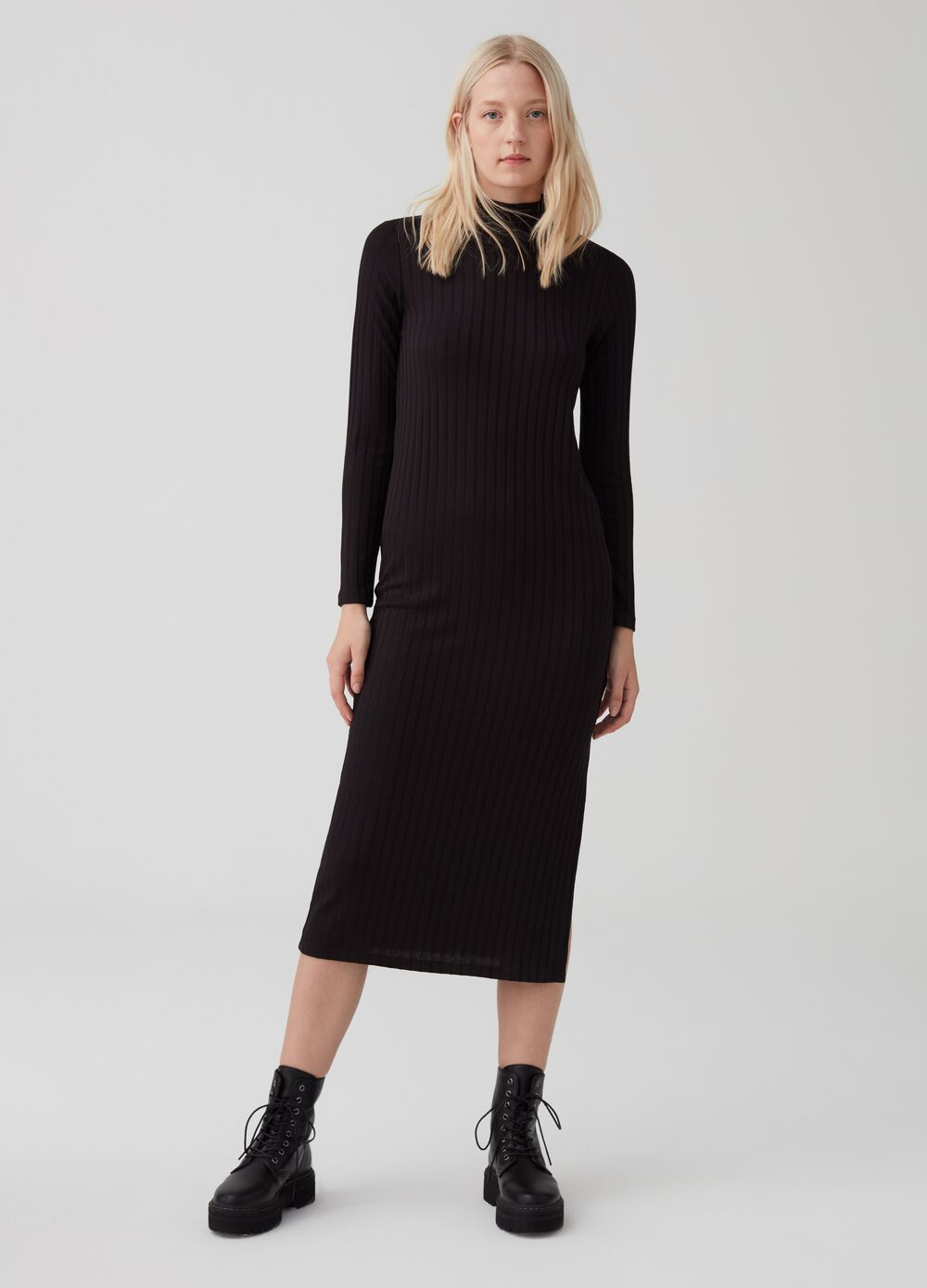 Stretch dress with striped weave and high neck