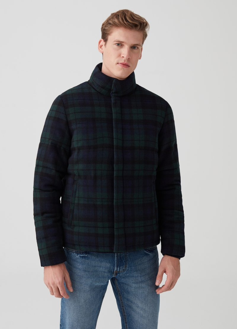 Down jacket with high neck and tartan pattern image number null