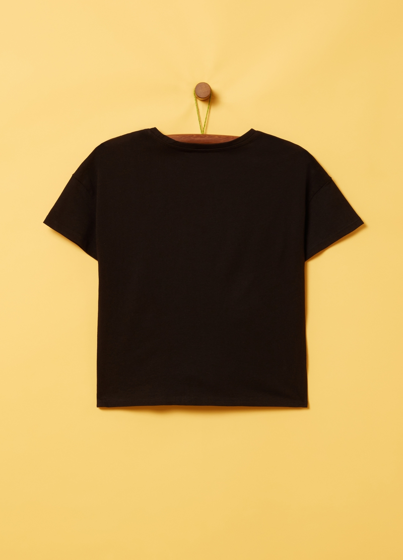 Smile print T-shirt with sequins image number null