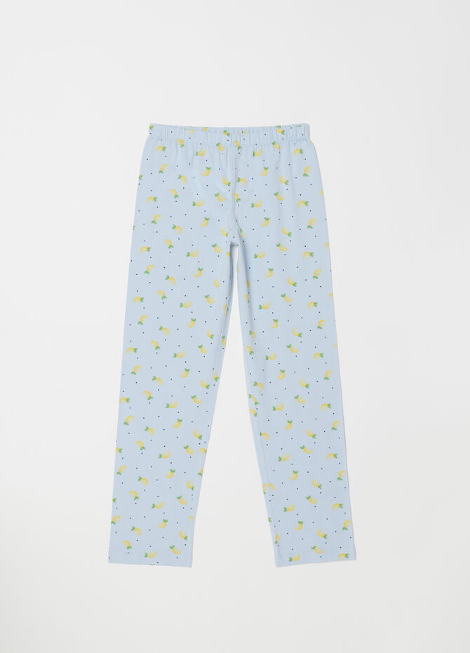 Pyjama top and trousers with polka dots and lemons