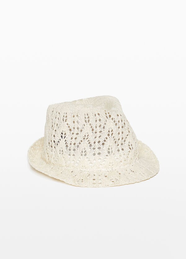 Wide brim openwork hat