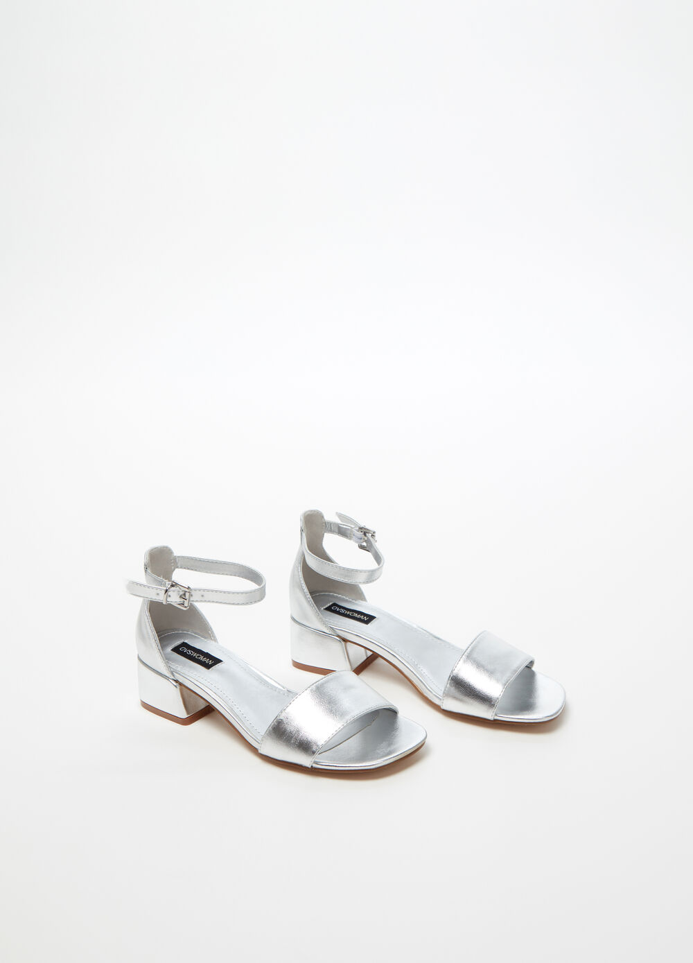 Sandals with shiny-effect strap