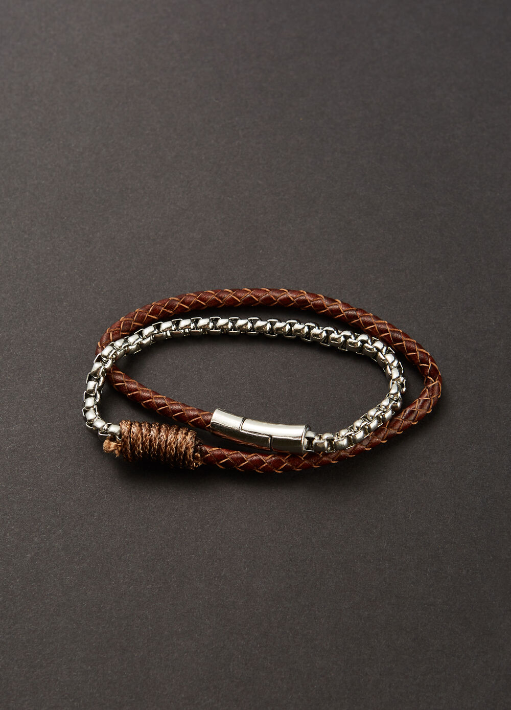 Leather bracelet with chain insert