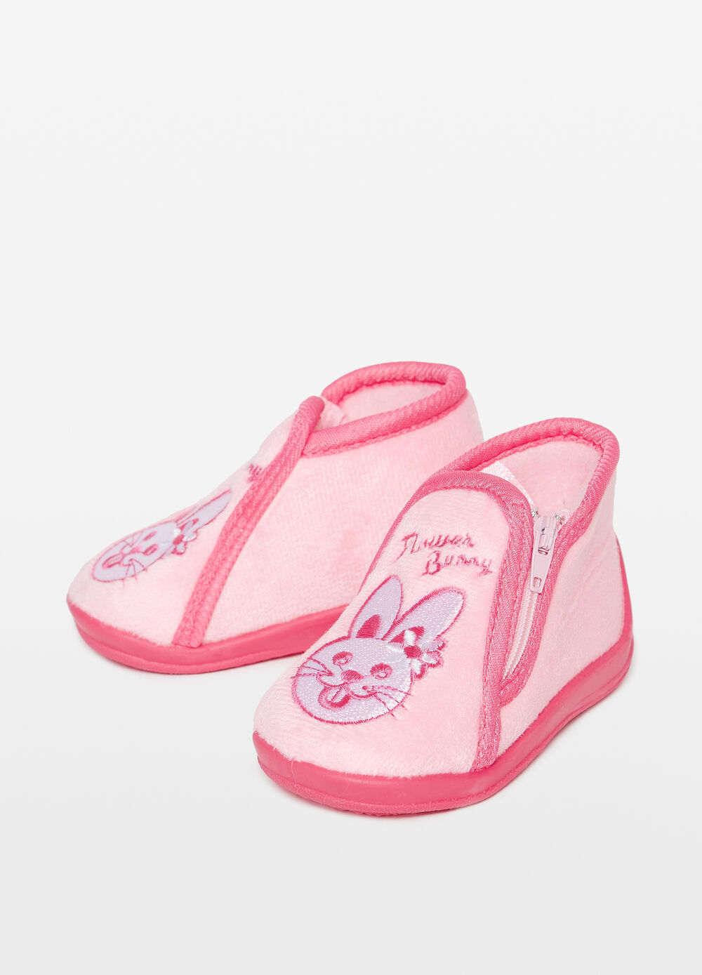 Slippers with zip and rabbit patch