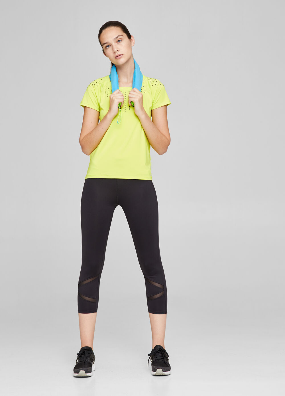 Stretch gym T-shirt with moon print