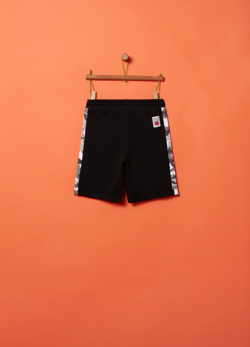 Fleece shorts with camouflage inserts image number null