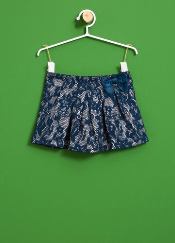 Floral pleated skirt in stretch cotton
