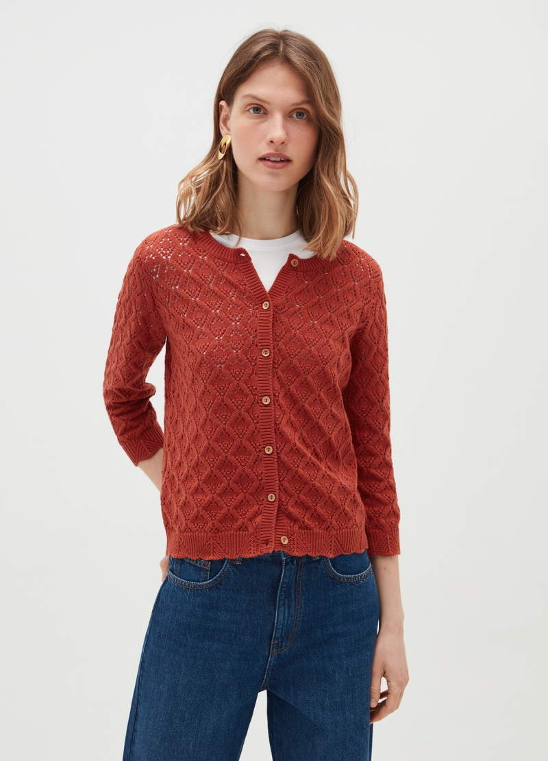 Crochet cotton cardigan with round neck image number null