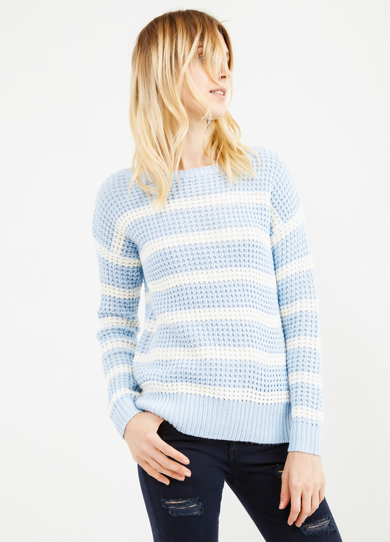 Striped pullover with boat-neck image number null