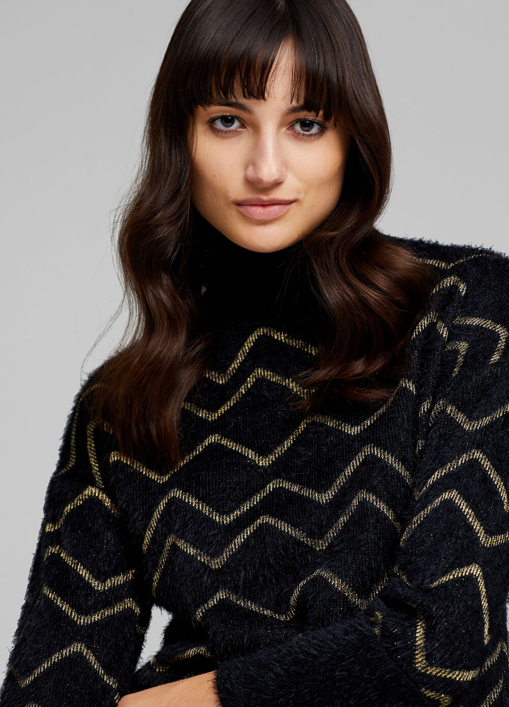 Turtleneck jumper with lurex and pattern