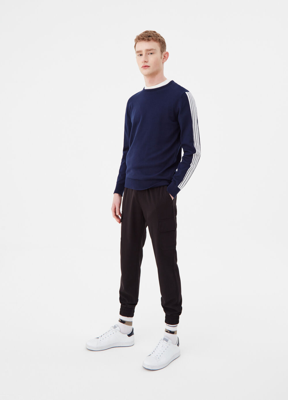 Cotton pullover with ribbed details