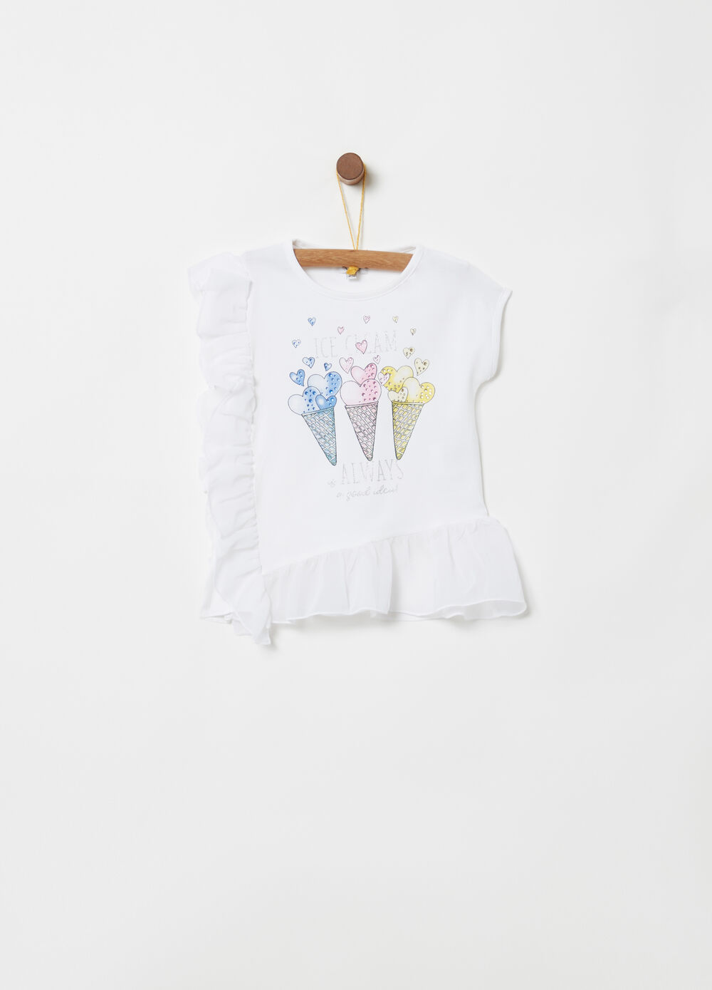 T-shirt con rouches tulle e stampa glitter