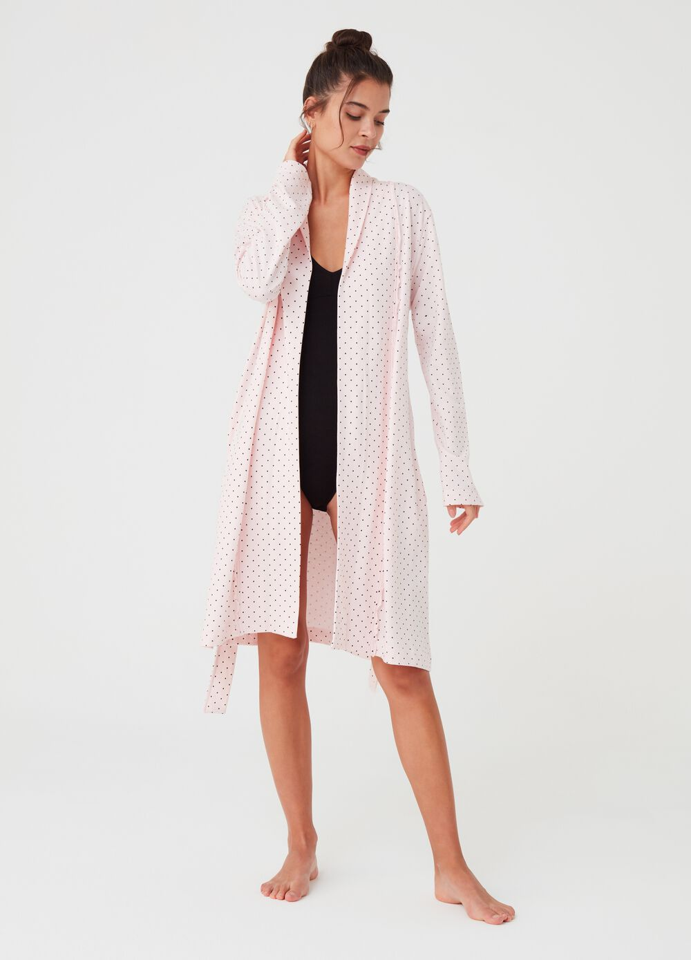 Dressing gown with polka dot print and long sleeves