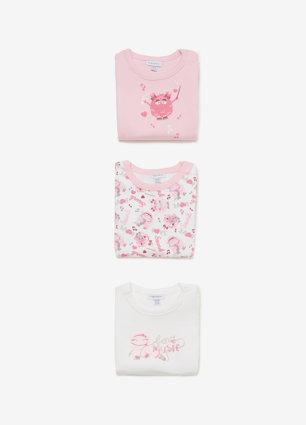 Three-pack cotton bodysuits with music print
