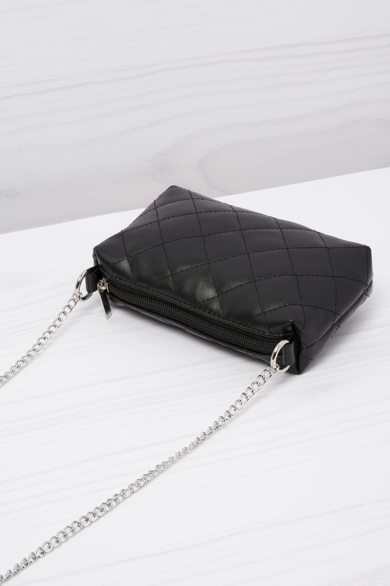 Leather look quilted mini bag image number null