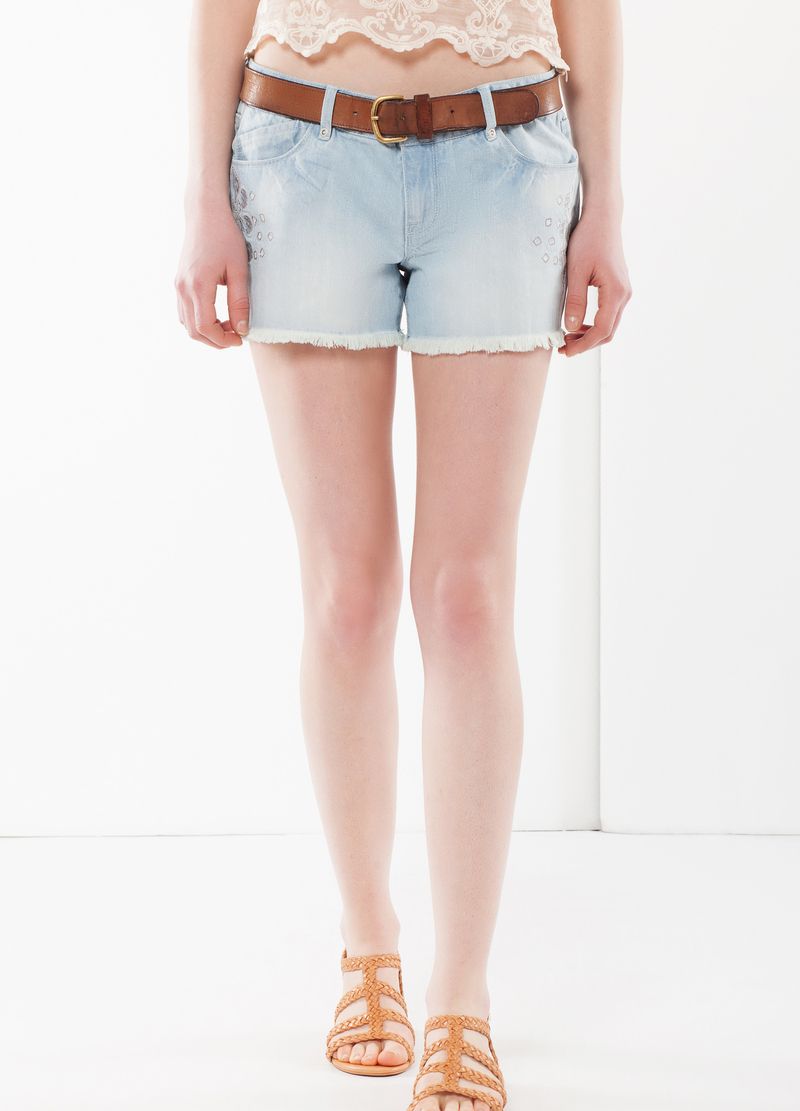 Laser cut embroidered denim shorts image number null