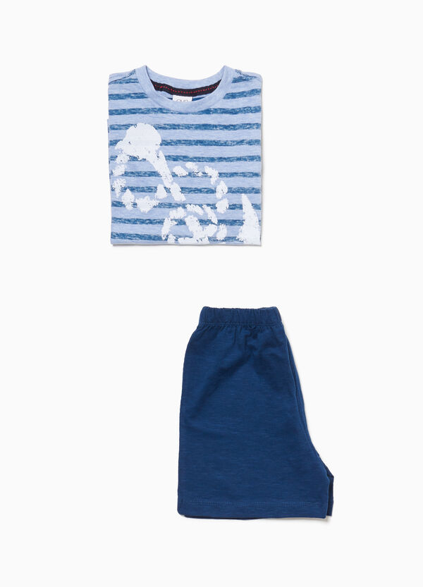 Cotton pyjamas with stripes and anchor