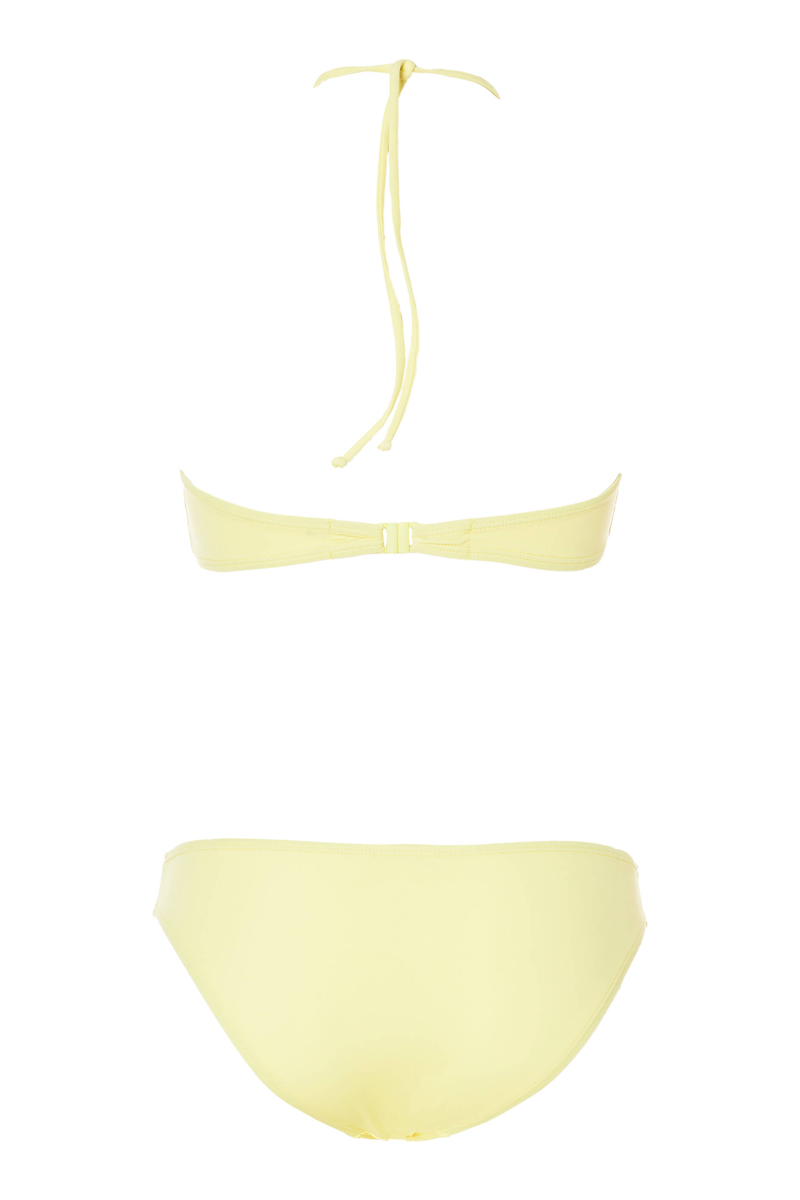 Bikini top and bottoms with ring and ties image number null