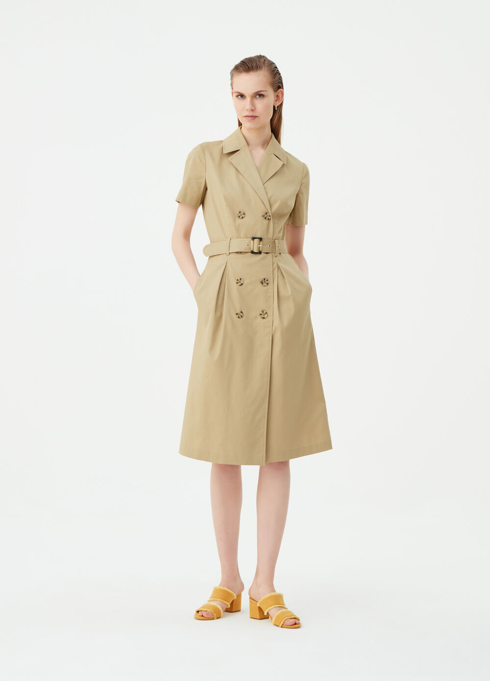 Cotton blend dress with lapels