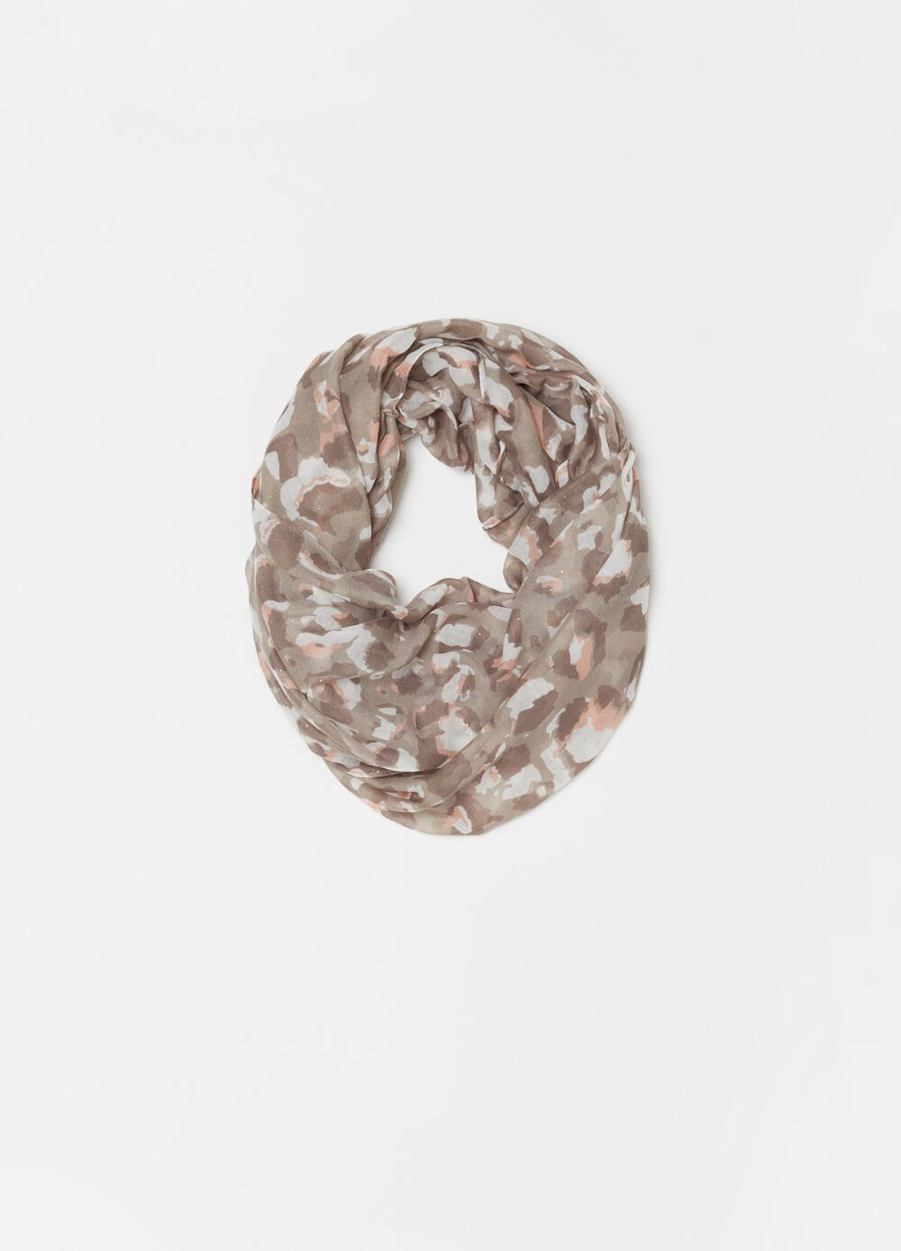Neck scarf with camouflage lurex