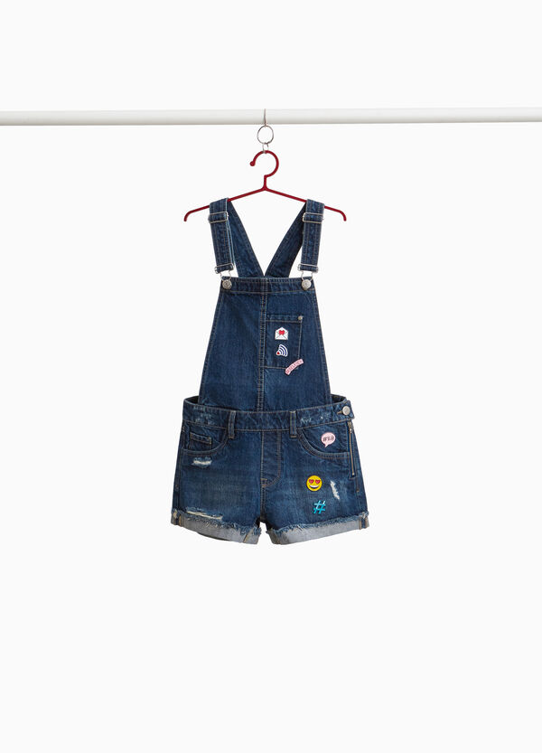 Used-effect denim dungarees with patches